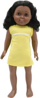 Fibre Craft Springfield Collection Pre Stuffed Doll, 18 Inch, Madison/Black Curly Hair/Brown Eyes