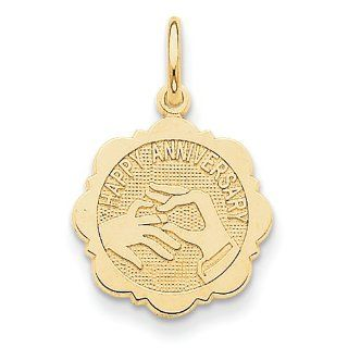 14k Yellow Gold Happy Anniversary Disc Charm: Clasp Style Charms: Jewelry