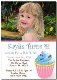 Sweet Cupcake Invitation Kids Photo Birthday Cards (Set of 25): Everything Else