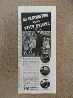 Reo motor car co., Vintage 30's print ad (policeman helping kids across street) Original vintage 1934 Collier's Magazine Print Art.
