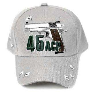 GREY 45 ACP COLT PISTOL GUN REVOLVER HAT CAP ADJ NEW Sports & Outdoors