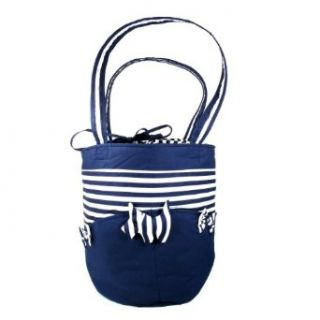 """Drawstring Shoulder Bag, Cotton Fabric, Striped Dark Blue & White, Approximately 17"""" x 17"""" x 12""""H (Round Bottom Approximately 10"""" Diameter) Beauty"""