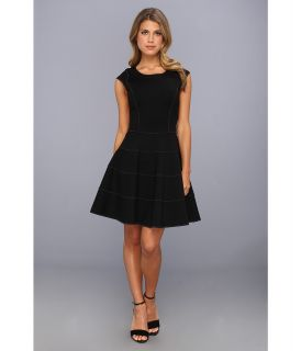 Halston Heritage Cap Sleeve Dress with Flared Skirt Womens Dress (Black)