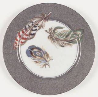 Fitz & Floyd Feathers Salad Plate, Fine China Dinnerware   Multicolor Feathers,