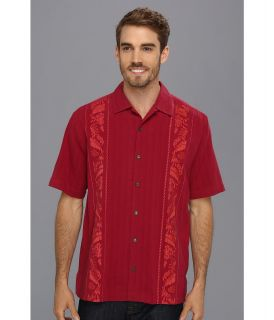 Tommy Bahama Path To Raj Camp Shirt Mens Short Sleeve Button Up (Burgundy)