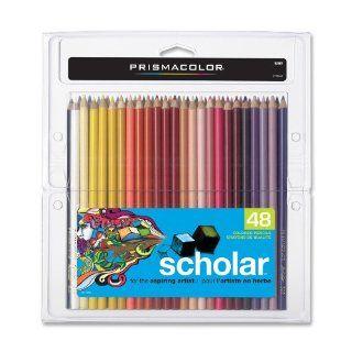 Prismacolor Scholar Colored Pencils  Set of 48 Assorted Colors, Wooden Case (92807)