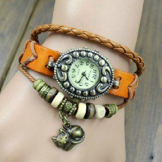 Orange Color Quartz Fashion Weave Wrap Around Leather Bracelet Lady Woman Wrist Watch: Toys & Games