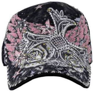 Black Rhinestone Studded Cross with Wings Tattoo Cap   Ed Hardy Style Clothing