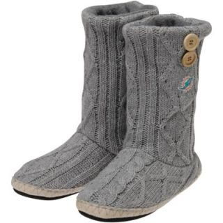 Miami Dolphins Womens New Logo Two Button Cable Knit Boots   Gray