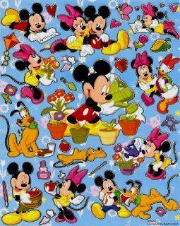 Mickey gardening Disney Sticker Sheet E029 ~ Daisy Minnie Mouse flower pot school