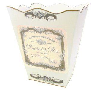 Retro Vintage Wastebasket E13 Trash Can, Trash Bin, Trash Basket ~ Shabby Chic Ivory Enamel with Vintage French Perfume Label.   Waste Bins