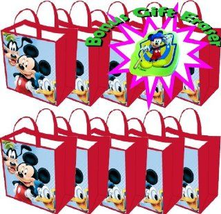 """10 pack Mickey Mouse Tote Bags WITH Bonus Eraser   Medium Woven Reusable Tote (13""""x14""""x6"""")   Use As a Mickey Mouse Gift Bag or Buy a Multi pack for Disney Themed Mickey Mouse Party Favors   More Mickey Mouse Party Supplies At Our Storefront"""