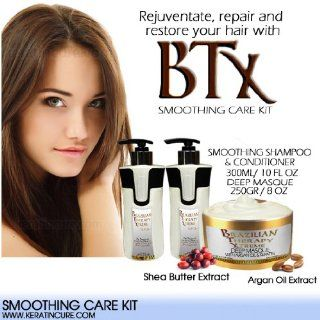 BTX Smoothing After Care Set 300 ml /10.14 fl oz and 250 g / 8.81 oz Deep Masque, Smoothing Shampoo & Smoothing Conditioner   Contains Argan Oil and Shea Butter Champu Y Acondicianador De Keratina Con Masqarilla De Pina Colada : Hair Shampoos : Beauty