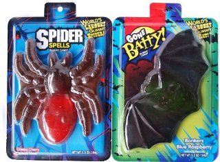 World's Largest Gummy Bat and Spider Party Favor Fun Candy (5.8oz Each & 6 inches wide   set contains 1 bat and 1 tarantula spider) Health & Personal Care