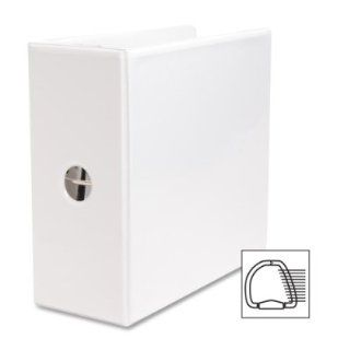 """Business Source Products   D Ring Binder, w/ Pockets, 5"""" Capacity, White   Sold as 1 EA   Basic D Ring View Binder offers a clear overlay for easy customization and identification. Slant D rings hold 40 percent more paper than traditional binders. Two"""