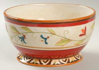 Fitz & Floyd Global Market Red Floral Coupe Cereal Bowl, Fine China Dinnerware