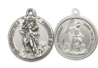 Exceptional Quality Rare Vintage Die .925 Solid Sterling Silver St. Saint Christopher and Guardian Angel Rare Unique Vatican Commissioned 100 Year Old Design Relic Catholic Icon Religious Jewelry Protection Protector Charm New NWT Bliss Jewelry