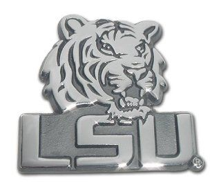 "LSU Louisiana State University ""Metal Tiger Head Mascot with Block Letters"" Chrome Plated Premium Metal Car Truck Motorcycle NCAA College Emblem: Automotive"