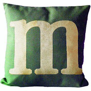 English Letter M Cotton/Linen Decorative Pillow Cover   Throw Pillow Covers