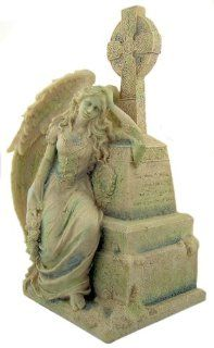 "Gothic Weeping Angel Sitting Leaning on Grave with Celtic Cross 9 1/8"" Stone Statue Figurine"