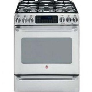 GE Cafe Series CGS980SEM 30'' Gas Range with 5 Sealed Burners, Dual Flame Stacked and PowerBoil Burner, 5.0 cu. ft. Self Clean PreciseAir Convection Oven, QuickSet VI Glass Touch Oven Controls and 1.0 cu. ft. Lower Oven Appliances