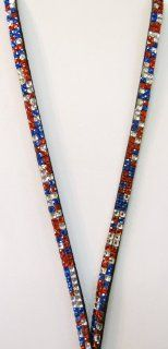 Suppport our Troops USA Multi Red, White, & Blue Rhinestone Lanyard Display the Photo of your Loved One in Service Or Loved One who has given their Life for our Freedom! Also a Perfect Nurse Appreciation, Coach, State Representative, Senator, City Coun