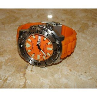 ORANGE 22mm Double Tang Modena Italian Rubber Dive Watch Band Fits LuminoxSeries 3000 Original Navy SEAL Dive Series, etc.  Watches