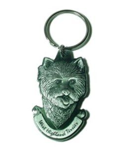 Pewter West Highland Terrier Westie Key Chain Ring Made in the USA