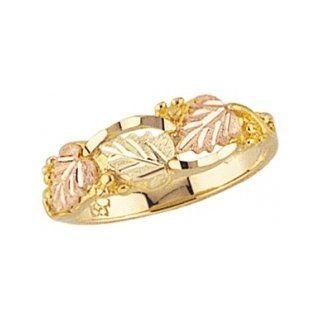 Classy! Yellow gold Black Hills Gold Diamond cut Women's Ring: Jewelry
