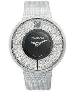 Swarovski Watch, Womens Swiss Crystalline Silver Tone Structured Fabric Strap 40mm   Fashion Jewelry   Jewelry & Watches