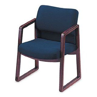 2400 Series Guest Arm Chair, Mahogany Finish, Blue Fabric by HON (Catalog Category: Furniture & Accessories / Chairs) : Reception Room Chairs : Office Products
