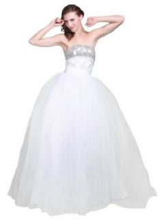 Topwedding Strapless Sequined Bodice Tulle Ball Gown Wedding Dress at  Women�s Clothing store