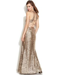 Betsy & Adam One Shoulder Sequined Gown   Dresses   Women