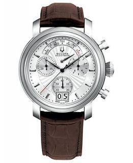 Bulova Accutron Watch, Mens Swiss Chronograph Amerigo Brown Leather Strap 44mm 63C108   Watches   Jewelry & Watches