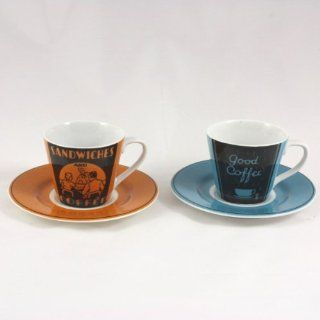 222 FIFTH Vintage Ad Fine Porcelain Espresso Cups and Saucers (Set of 2)  Drinkware Cups With Saucers