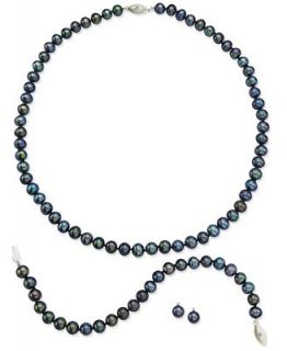 Sterling Silver Jewelry Set, Black Cultured Freshwater Pearl and Diamond Accent Earrings, Necklace and Bracelet   Jewelry & Watches
