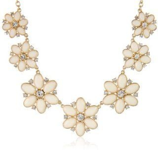 "kate spade new york ""Floral Fete"" Cream and Clear Graduated Necklace, 18"": Jewelry"