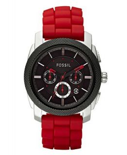 Fossil Mens Chronograph Red Silicone Strap Watch FS4598   Watches   Jewelry & Watches