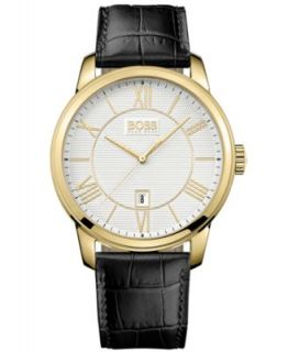 Hugo Boss Watch, Mens Ultra Slim Black Leather Strap 1512637   Watches   Jewelry & Watches