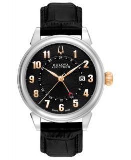 Bulova Accutron Watch, Mens Swiss Chronograph Amerigo Brown Leather Strap 44mm 65C109   Watches   Jewelry & Watches