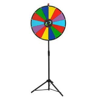 "Custom Plate 24"" Round Spinning Board Multi Colors Dry Erase Clicker Win Prize Wheel 15 Slots w/ Height Adjust 44 62 In. Metal Tripod Floor Stand Marker Pen Eraser: Office Products"