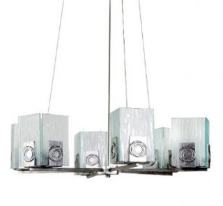 Varaluz 182C06 Polar 6 Light Chandelier, Blackened Silver Finish with Ice Crystal Recycled Glass Shades, 25 39/47 Inch by 7 Inch