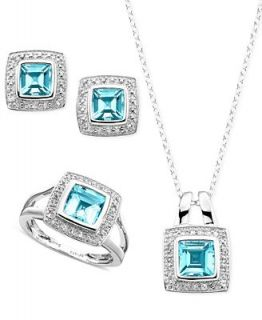 Blue Topaz Jewelry Set, Sterling Silver Blue Topaz (5 1/2 ct. t.w.), White Topaz (1/2 ct. t.w.) and Diamond Accent Jewelry Set   Jewelry & Watches