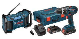 Bosch DDS181 02LPB 18 volt 2 Tool Combo Kit Drill/Driver with Radio, 2 Batteries, Charger and L BOXX2