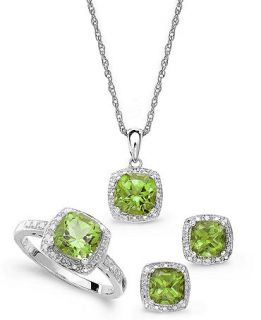 Sterling Silver Jewelry Set, Peridot (4 3/4 ct. t.w.) and Diamond Accent Necklace, Earrings and Ring Set   Jewelry & Watches