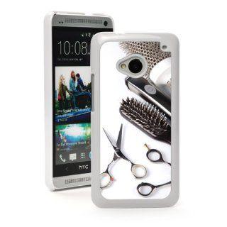 HTC One M7 White Hard Back Case Cover MW171 Color Scissors Comb Brush Hair Dresser: Cell Phones & Accessories