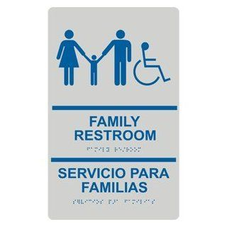 ADA Family Restroom Bilingual Braille Sign RRB 170 BLUonPRLGY  Business And Store Signs