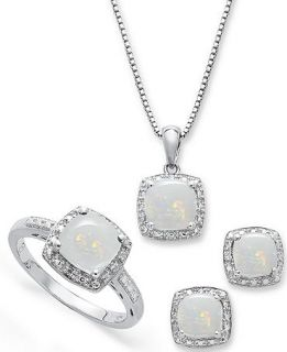 Sterling Silver Jewelry Set, Opal (4 3/4 ct. t.w.) and Diamond Accent Necklace, Earrings and Ring Set   Jewelry & Watches