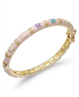 Lily Nily Childrens 18k Gold over Sterling Silver Bracelet, Pink Floral Enamel Bangle   Bracelets   Jewelry & Watches