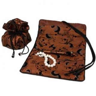 Serena Travel Set Jewelry Organizer Soft Silky Abstract Floral Burnt Orange Clothing